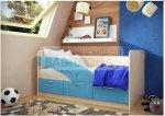 Детская кровать Дельфин синий 1.6м